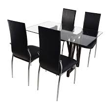 Black Leather Chairs And Dining Table 61 Off Glass Top Dining Table And Leather Chairs Tables