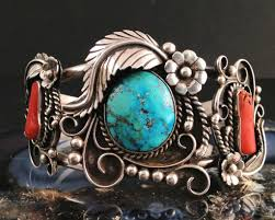 silver turquoise coral american indian estate cuff bracelet