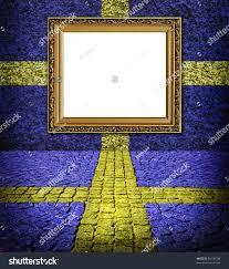 Blue Flag Yellow Cross Swedish Flag Style Elegant Frame On Stock Illustration 80148748