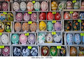 painted easter eggs for sale painted easter eggs displayed sale stock photos