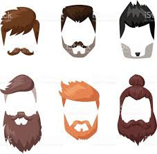 hairstyles beard and hair face cut mask flat cartoon collection
