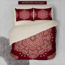 Indie Bedspreads Mandala Bedding Red And Gold Mandala Duvet Cover Set Henna