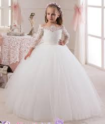 vintage communion dresses wholesale 2016 lace sleeves tulle flower girl dresses vintage