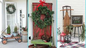 diy shabby chic style front porch christmas decor ideas