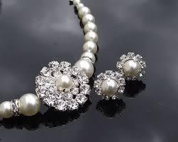 pearl style bracelet images Vintage style rhinestone pearl bridesmaids bracelet earring jpg