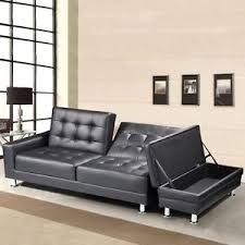 Leather Sofa Beds With Storage Modern Black Faux Leather 3 Seater Sofa Bed Storage Ottoman