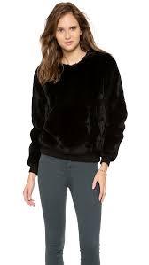 fur sweater lyst theyskens theory binga fur sweater in black