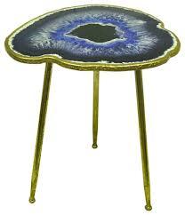 navy blue accent table navy blue accent table agate geode design with gold leaf finish