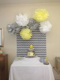 gray and yellow baby shower cake table background baby shower