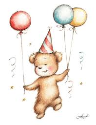 teddy balloons print of teddy with balloons painting by abramska