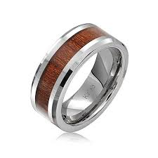 Workout Wedding Rings by Amazon Com Bling Jewelry Simulated Wood Inset Beveled Edge