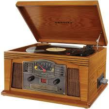 crosley record player vintage look wood turntable am fm radio