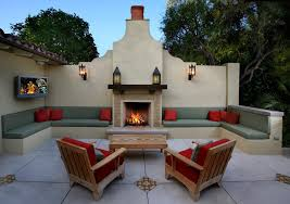 Southwestern Sconces Stucco Wall Patio Southwestern With Fireplace Outdoor Lights And