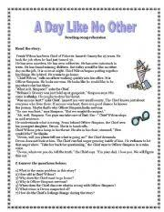 a day like no other reading comprehension vocabulary exercises