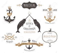 hand drawn wedding invitation logo templates in nautical style