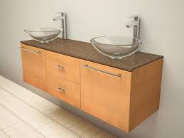 maple vanity with clear glass bowl idea unique bathroom vanity