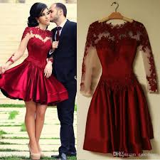 burgundy short prom dresses 2017 lace appliques long sleeves short
