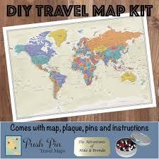 Travel Maps Diy Tan Oceans World Push Pin Travel Map Kit Push Pin Travel Maps