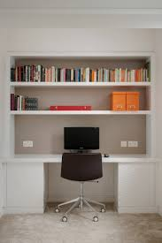 minimalist built in bookshelves white cabinet contrasted grey wall