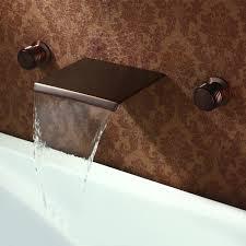black bronze orb wall waterfall bathroom sink faucet at