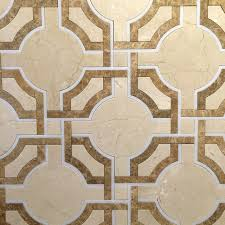12 x12 water jet mosaic crema marfil marble cappuccino marble and