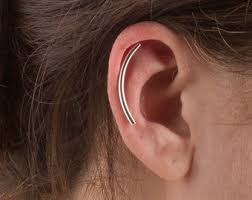 bar earring cartilage silver wave cartilage earring ear climber sterling silver