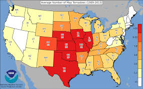 United States Map By Region by Spc Average Number Of Tornadoes Per State By Month