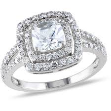 sterling silver engagement rings walmart miabella 3 carat t g w cushion and cut cubic zirconia