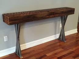 Custom Metal And Wood Furniture Trevor U0027s Reclaimed Wood Foyer Table With Metal Legs Fama Creations