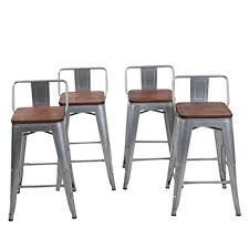 24 Bar Stool With Back Low Back Metal Bar Stool For Indoor Outdoor Kitchen