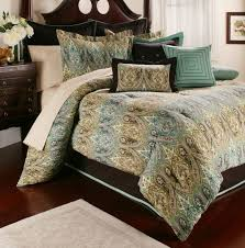 Faux Fur Comforter Set King Bedroom Black Turquoise Teal Blue Comforter Set Elegant Damask