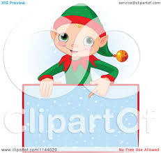 cartoon of a cute christmas elf boy pointing down at a snow sign