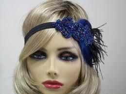 flapper headband blue 1920s headband flapper headband 1920s headpiece jazz age