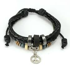 braided leather bracelet with charms images Wrap black leather bracelet with braided for lover metal leaf jpg