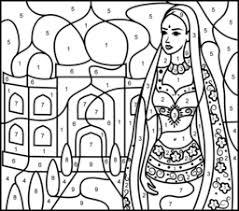 coloring pages princess india color number hard