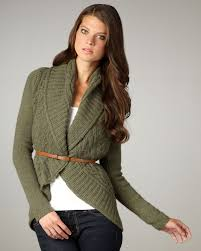 Autumn Cashmere Rib Drape Cardigan Autumn Cashmere Draped Cable Knit Cardigan In Green Lyst