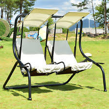 outdoor garden 2 person hammock swing bed metal w canopy shelter