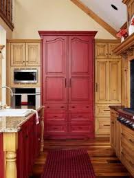 Rustic Pine Kitchen Cabinets by I Love The Red Island With The Black Cabinets I Believe I U0027m Going