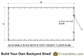 shed floor plan 8x16 gambrel shed plans icreatables