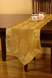 Gold Lace Table Runner Hawthorn Leaf Floral Table Runner Banarsi Designs