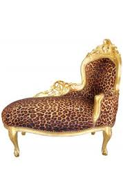 Leopard Chaise Lounge Louis Xv Chaise Longue Gold Satin Fabric And Gold Wood