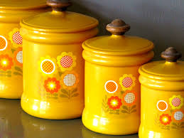 accessories appealing cheery yellow ceramic kitchen canisters