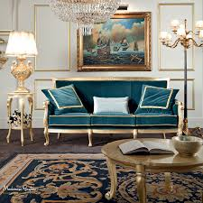 Furniture Design Sofa Classic Living Room With Velvet Upholstery And Furniture Covered By Gold