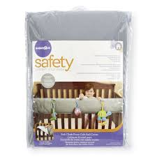 babies r us soft cloth front crib rail cover grey babies