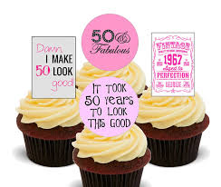50th birthday female funny edible cupcake toppers stand up