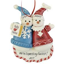 expecting twins or triplets personalized christmas ornament