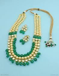 emerald green fashion necklace images Buy beautiful emerald green vilandi kundan mala set online high jpg
