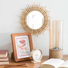 couette en bambou miroir rond en bambou d 30 cm marapong maisons du monde
