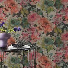 rasch florentine chic floral wallpaper grey pink natural coral