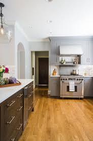 gray kitchen floors with oak cabinets stained oak wood kitchen floor panels design ideas
